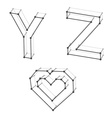 wireframe font alphabet letters Y Z heart vector image