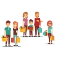 Woman and man going shopping with bags vector image