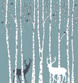 birch trees with deers vector image