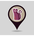 Halloween black cat mapping pin icon vector image