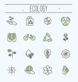 thin line ecology icons set vector image