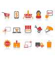 shopping online icons orange series vector image vector image