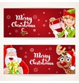 Santa Claus and Elf with gift on two Christmas vector image vector image