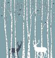 Birch trees with deers vector image