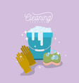 bucket with soap foam and sponge with gloves vector image
