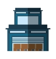 building warehouse cardboard boxes cargo shadow vector image