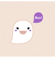Cute Kawaii Ghost isolated on dots background vector image