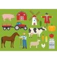 Farm Decorative Flat Icons Set vector image
