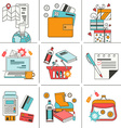 Set of flat icons for online shopping vector image