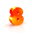 Shiny orange red 3d number 8 isolated on white vector image