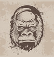 silhouette snout gorillas monkeys in retro style vector image