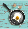 frying pan with egg vector image