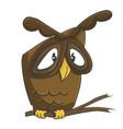 cute owl on the branch cartoon vector image