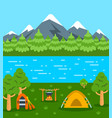 summer camping tourism flat background vector image