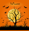 halloween day with trees bats and a full moon vector image