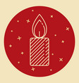 christmas candle icon in thin line style vector image