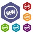 New rhombus icons vector image