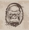silhouette snout gorillas monkeys in retro style vector image