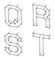 wireframe font alphabet letters Q R S T vector image