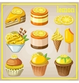 Set of sweets with lemon vector image
