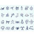 doodle Christmas icon set vector image vector image