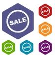 Sale rhombus icons vector image