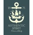 anchor and a pirate sailing ship vector image vector image
