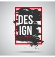 black grunge splash in red frame Modern vector image
