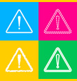 exclamation danger sign flat style four styles vector image