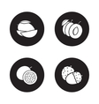 Fruits monochrome icons set vector image