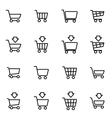 line shopping cart icon set vector image
