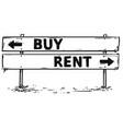 road block arrow sign drawing of buy or rent vector image
