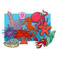 sea life group cartoon animal characters vector image
