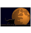 Wallpaper halloween moon cat vector image