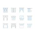 Window textile decor flat line icons set vector image