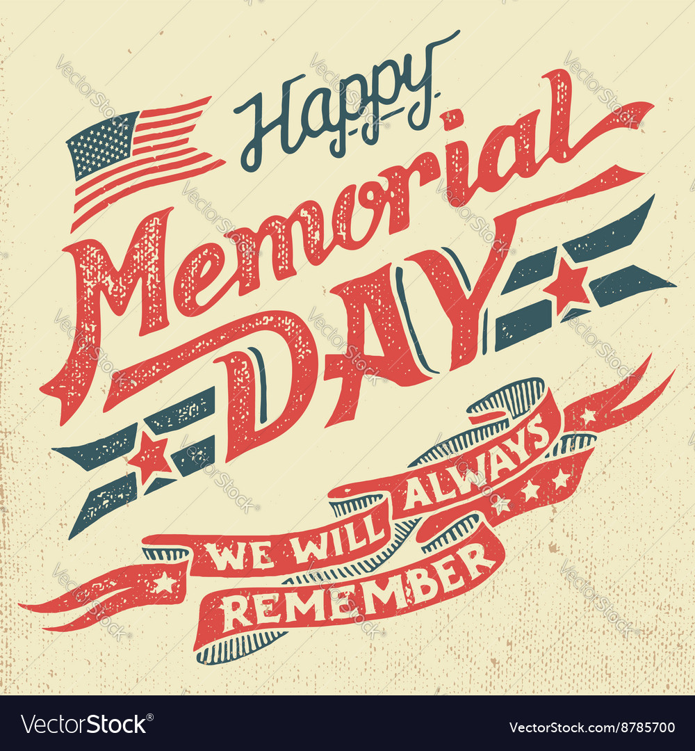 Happy memorial day handlettering greeting card vector