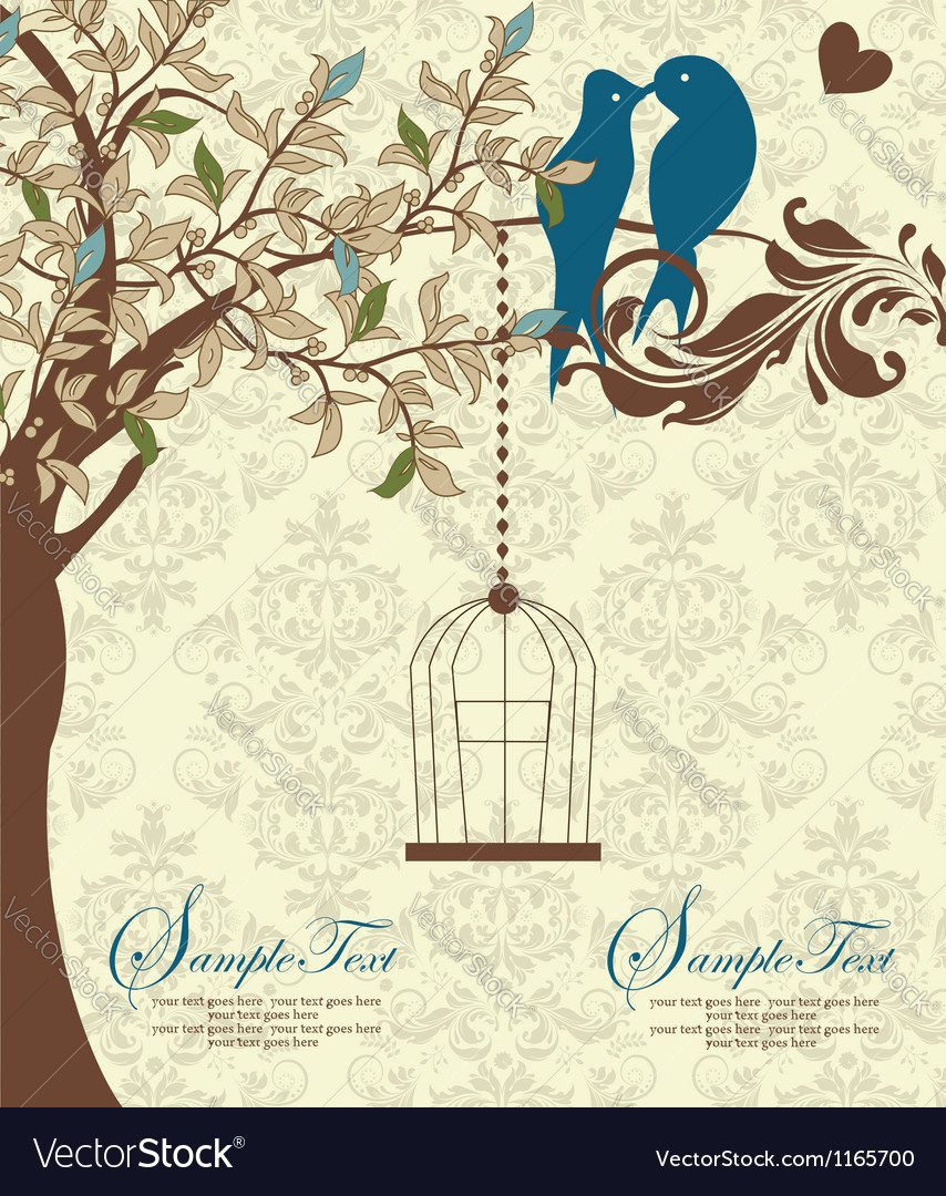 Love birds sitting in a tree wedding invitation vector