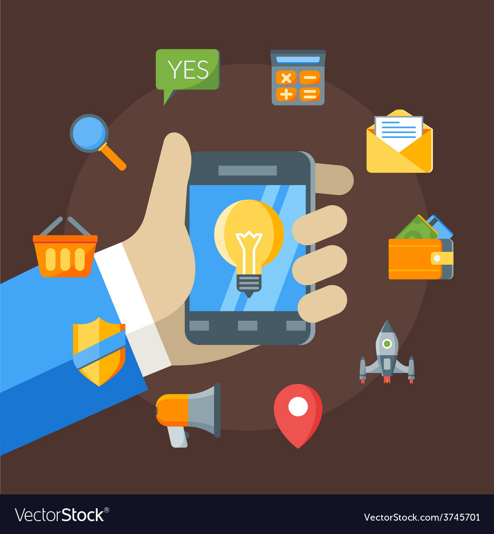 Mobile concept with business icons hand of the vector