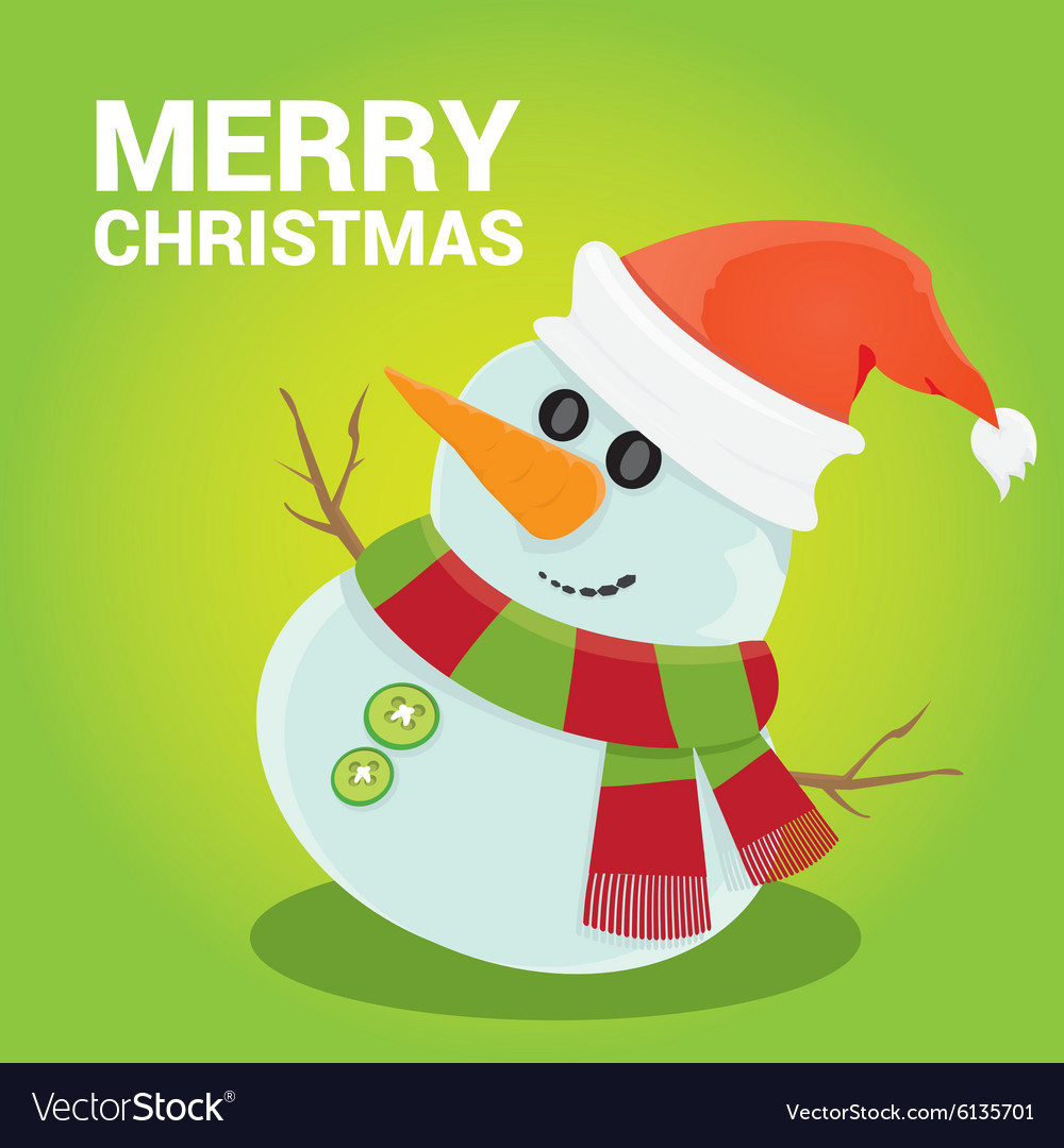 Snowman on blue sky background with stars vector