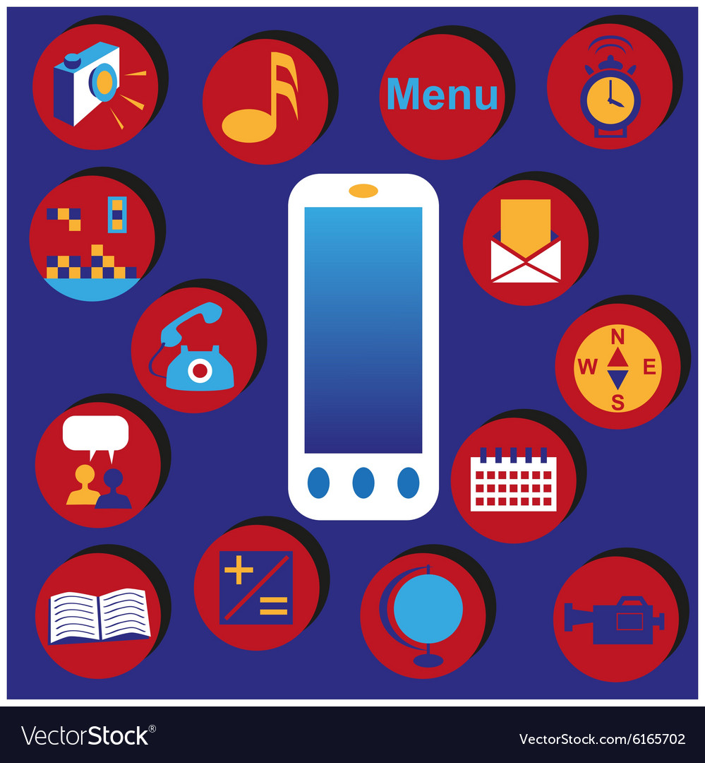 Phone and menu vector