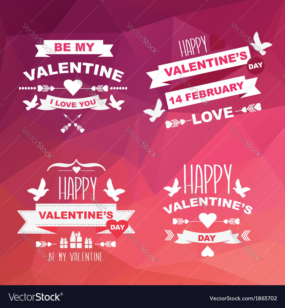Valentines day set of symbols vector