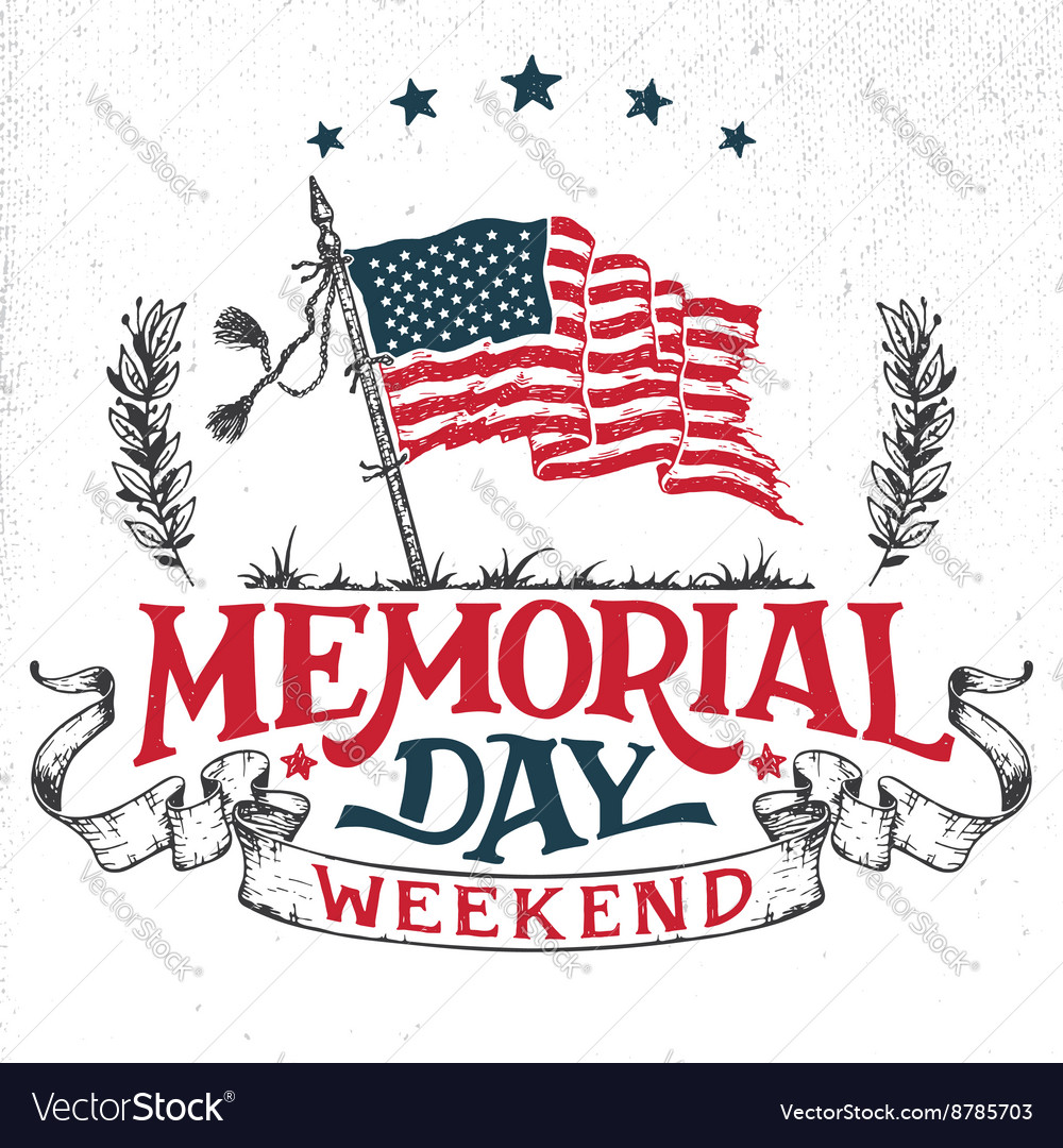 Memorial day weekend greeting card vector