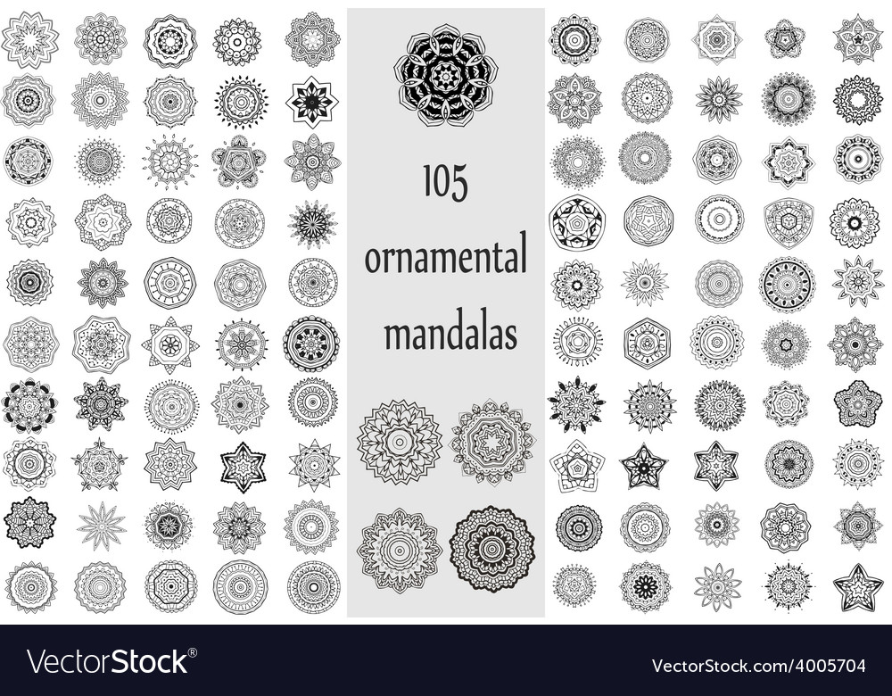 Ornament round set with mandala vector