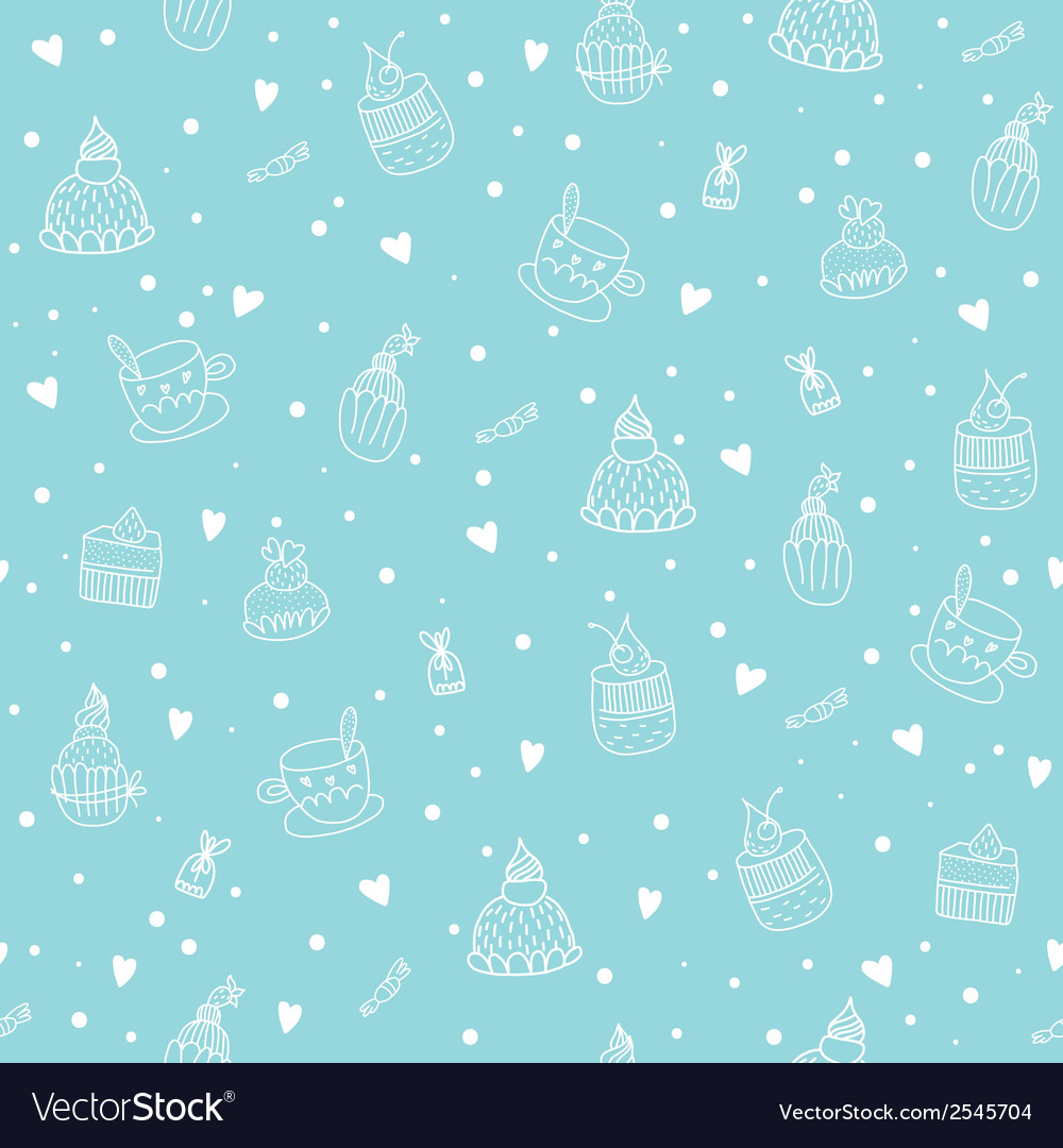 Seamless pattern with cupcakes teacups chocolates vector