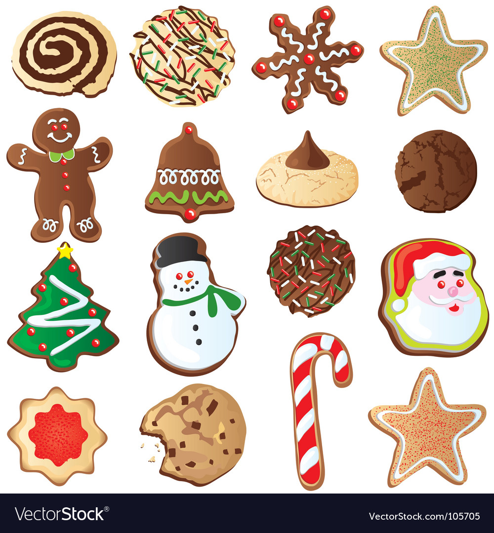 Cute christmas cookies vector