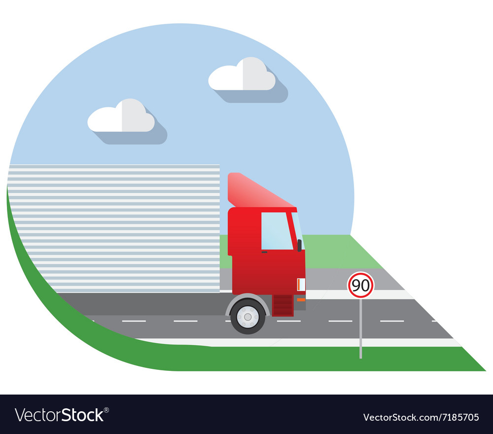Flat design city transportation truck for vector