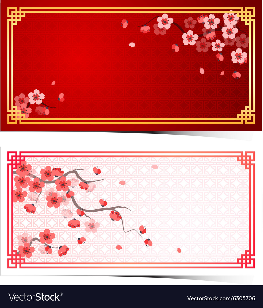 Cherry blossom template3 vector