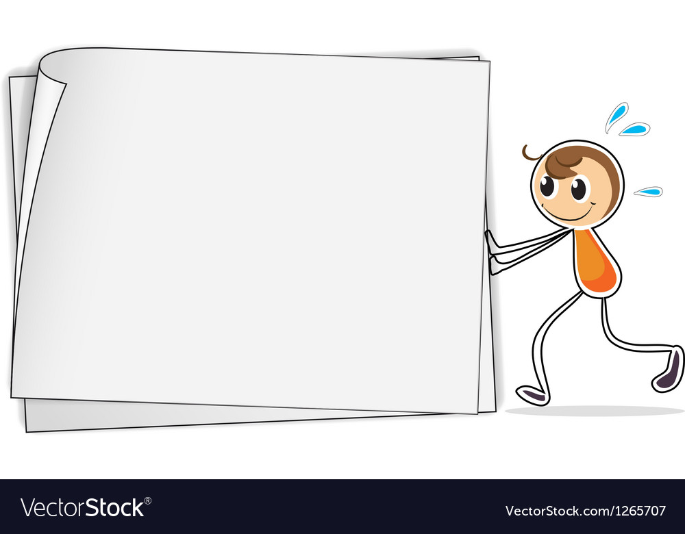 A boy pushing a big blank paper vector