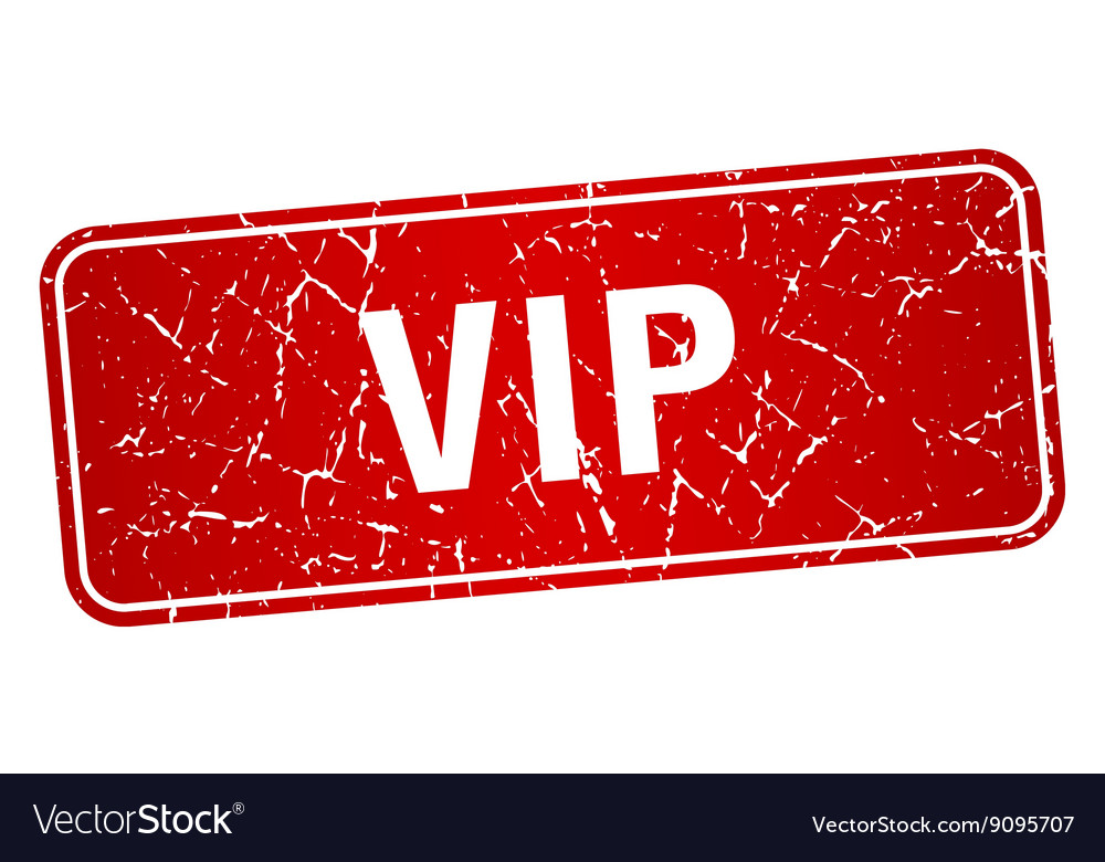 Vip red square grunge textured isolated stamp vector