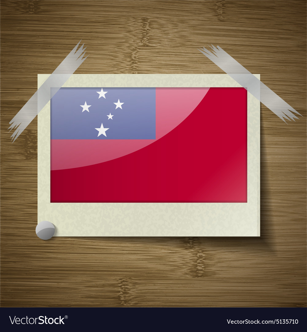 Flags samoa at frame on wooden texture vector